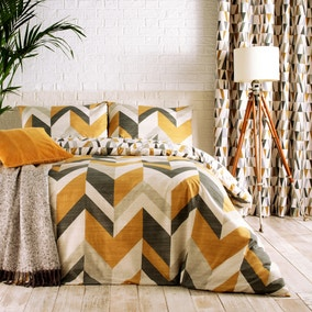 Furn. Renovate Charcoal and Gold Reversible Duvet Cover and Pillowcase Set