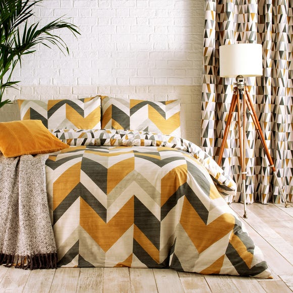 Renovate Charcoal and Gold Reversible Duvet Cover and Pillowcase Set  undefined