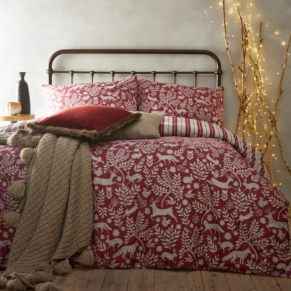 Scandinavian Woodland 100% Brushed Cotton Reversible Red Duvet Cover and Pillowcase Set  undefined