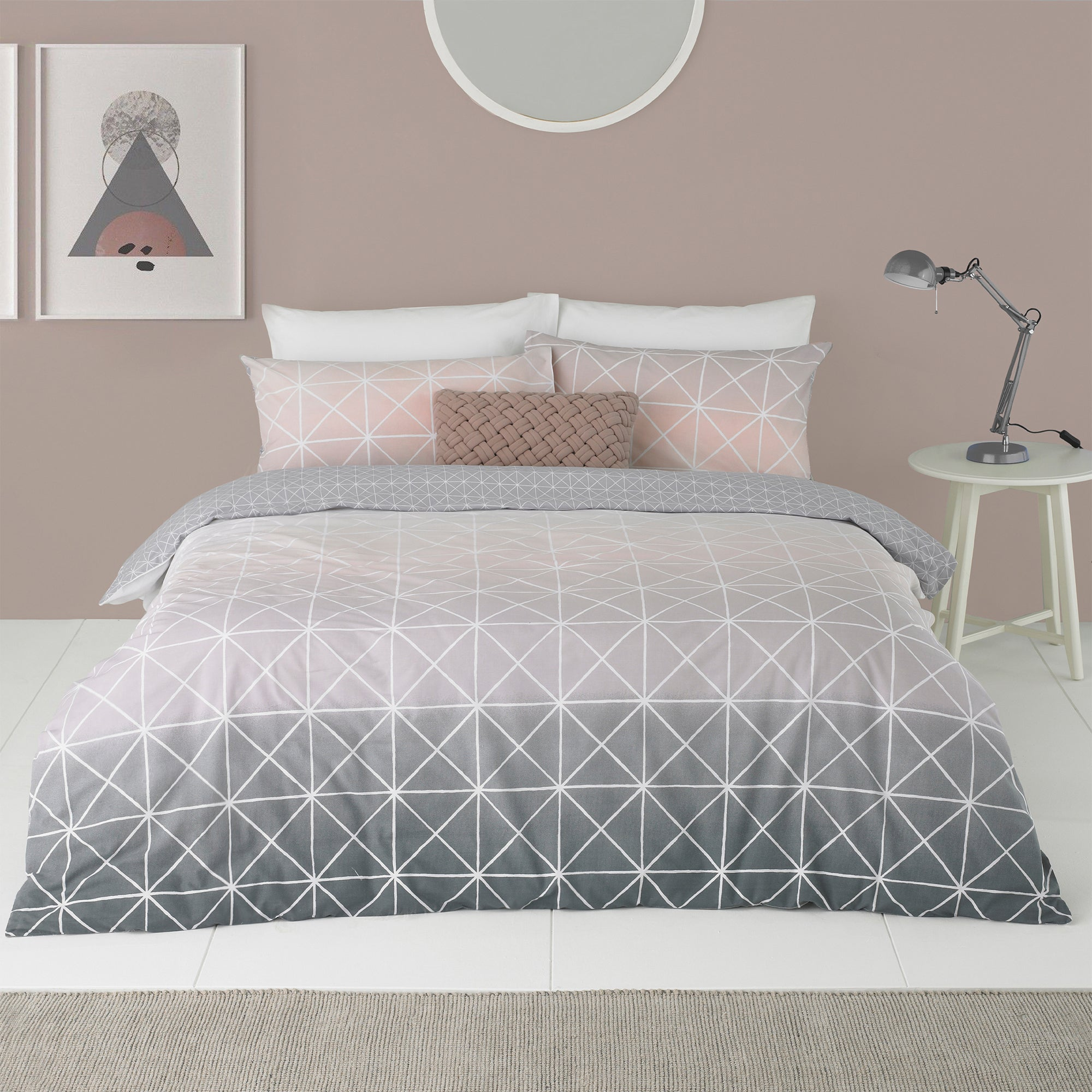 Click to view product details and reviews for Spectrum Blush Ombre Reversible Duvet Cover And Pillowcase Set Blush Pink.