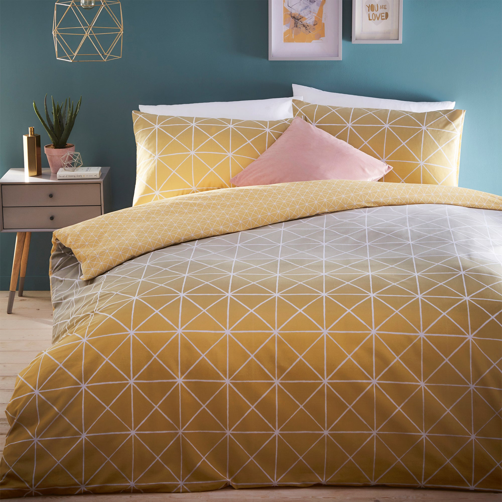Click to view product details and reviews for Spectrum Yellow Ombre Reversible Duvet Cover And Pillowcase Set Yellow.