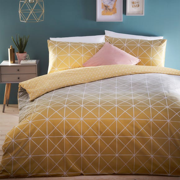 Spectrum Yellow Ombre Reversible Duvet Cover and Pillowcase Set  undefined