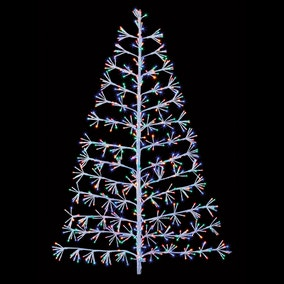 1.2M White Tree Starburst with Multicoloured and Vintage Gold LED