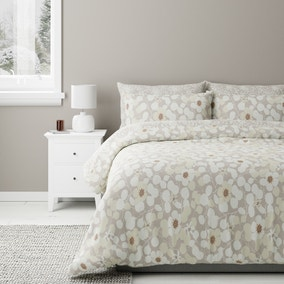 Bodie Natural Floral Reversible Duvet Cover and Pillowcase Set