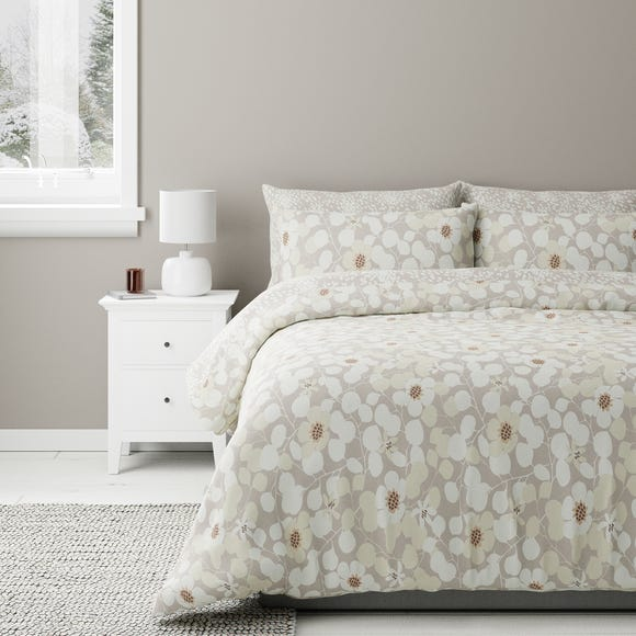 Bodie Natural Floral Reversible Duvet Cover and Pillowcase Set  undefined