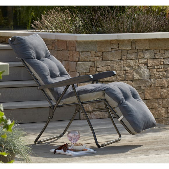 Padded Foldable Charcoal Lounger Charcoal (Grey)