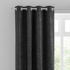 Chenille Spot Black Eyelet Curtains