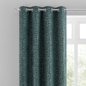 Chenille Spot Bottle Green Eyelet Curtains