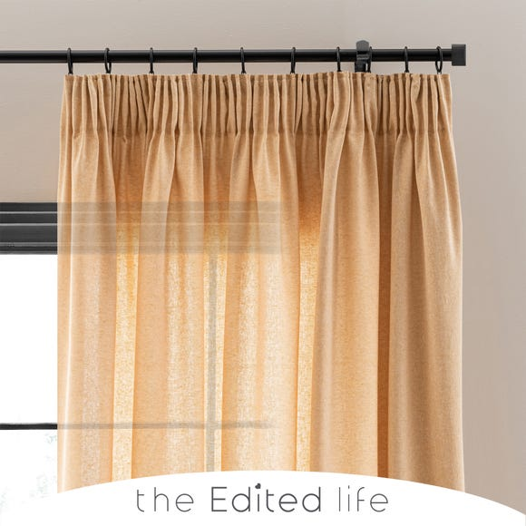 Linen Look Ochre Tab Top Pencil Pleat Curtains  undefined