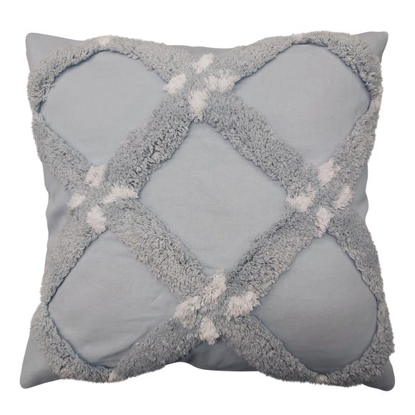 Tufted Cross Blue Cushion Pale Blue