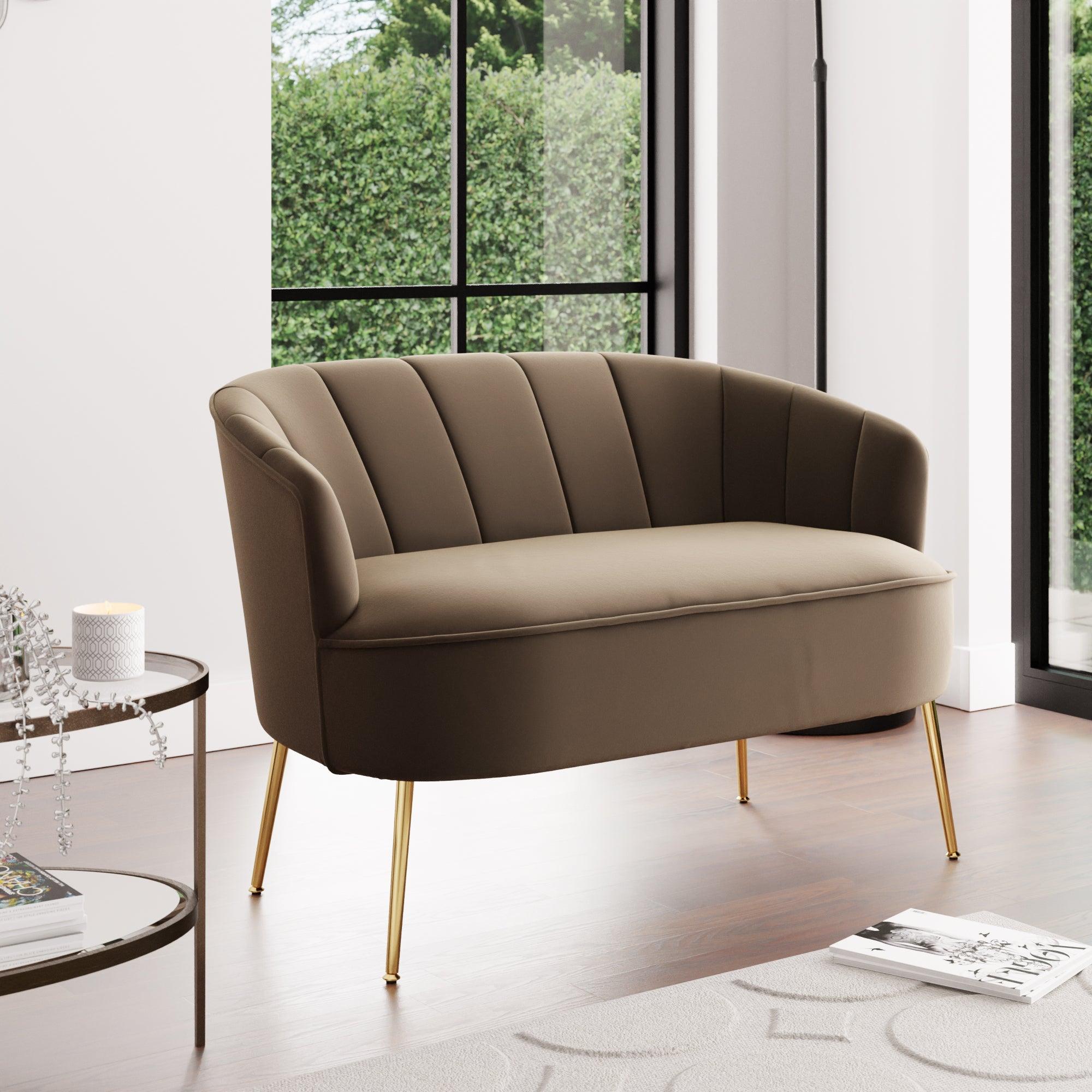 Matilda Velvet Two Seater Sofa Brown