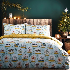 Twelve Days of Christmas Reversible Duvet Cover and Pillowcase Set