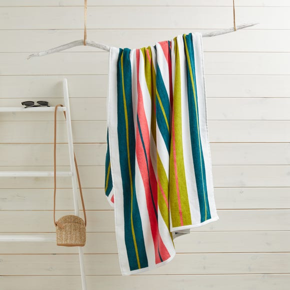 Elements Striped Jacquard 100% Cotton Extra Large Beach Towel MultiColoured