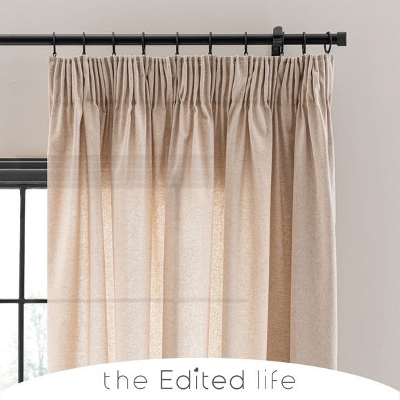 Linen Look Sand Tab Top Pencil Pleat Curtains  undefined