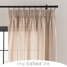 Linen Look Sand Tab Top Pencil Pleat Curtains