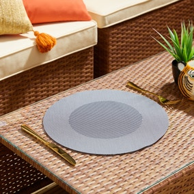 Set of 2 Water Resistant Round Shade Outdoor Placemats