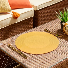 Set of 2 Water Resistant Round Turmeric Outdoor Placemats