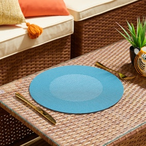 Set of 2 Water Resistant Round Peacock Outdoor Placemats