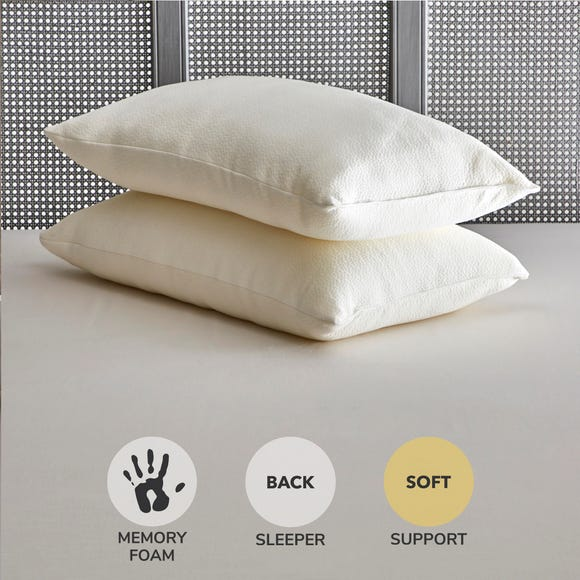 Fogarty Soft and Bouncy Memory Foam Pillow Pair Cream