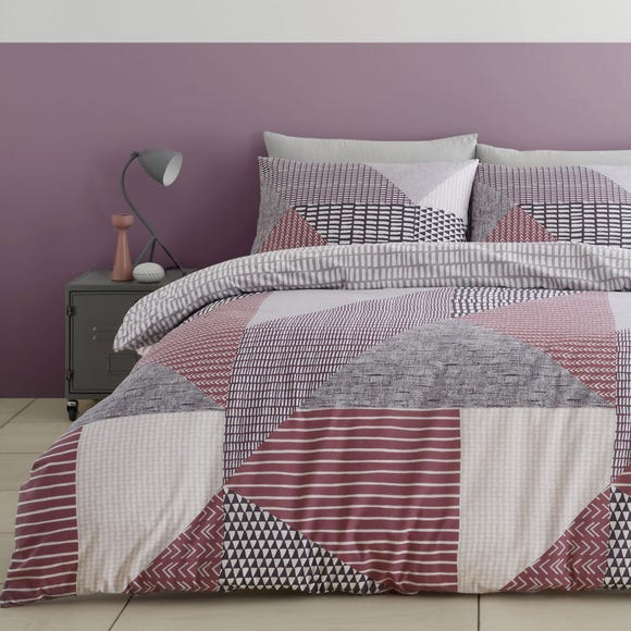 Catherine Lansfield Larsson Geo Purple Duvet Cover and Pillowcase Set  undefined