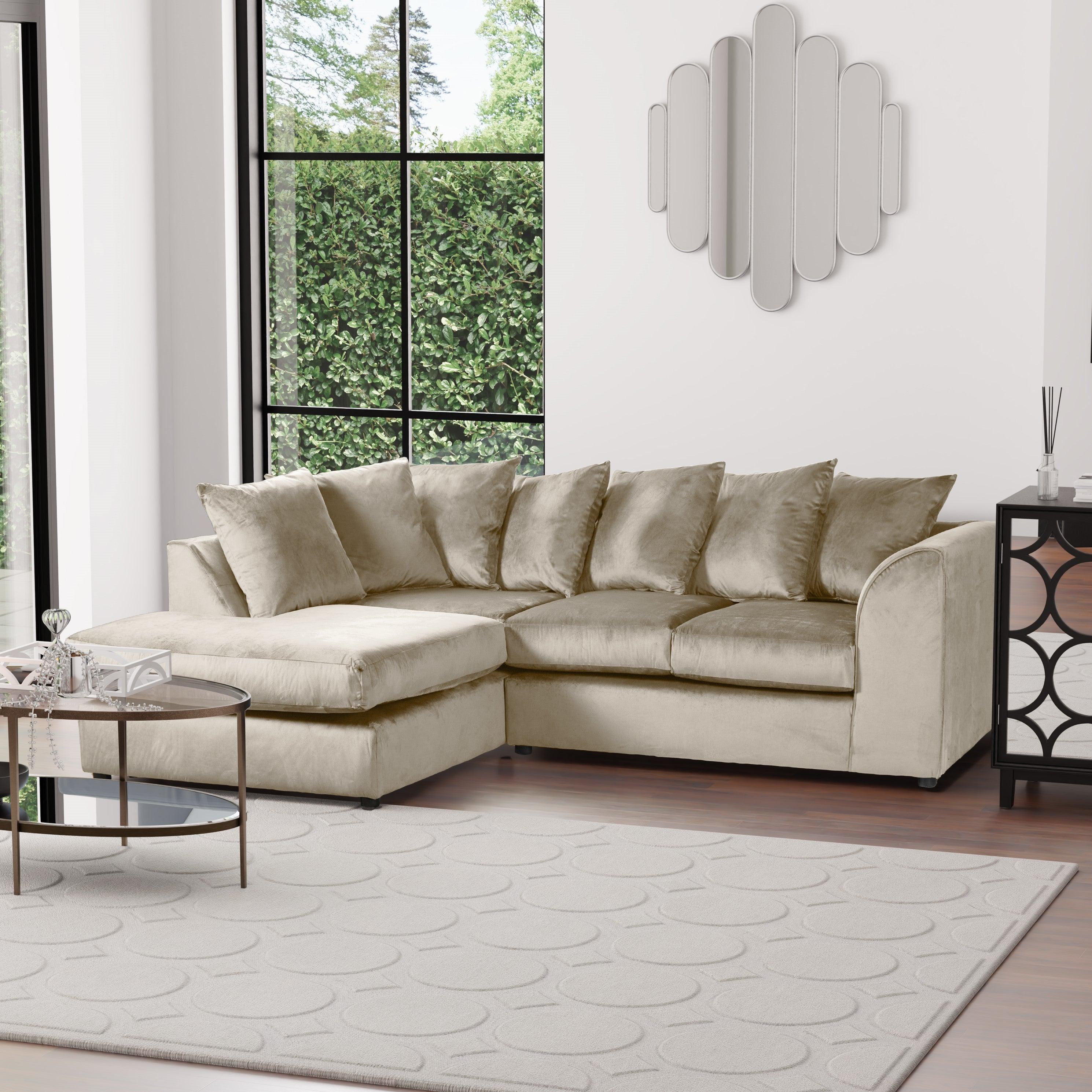 Blake Left Hand Velvet Corner Sofa Beige
