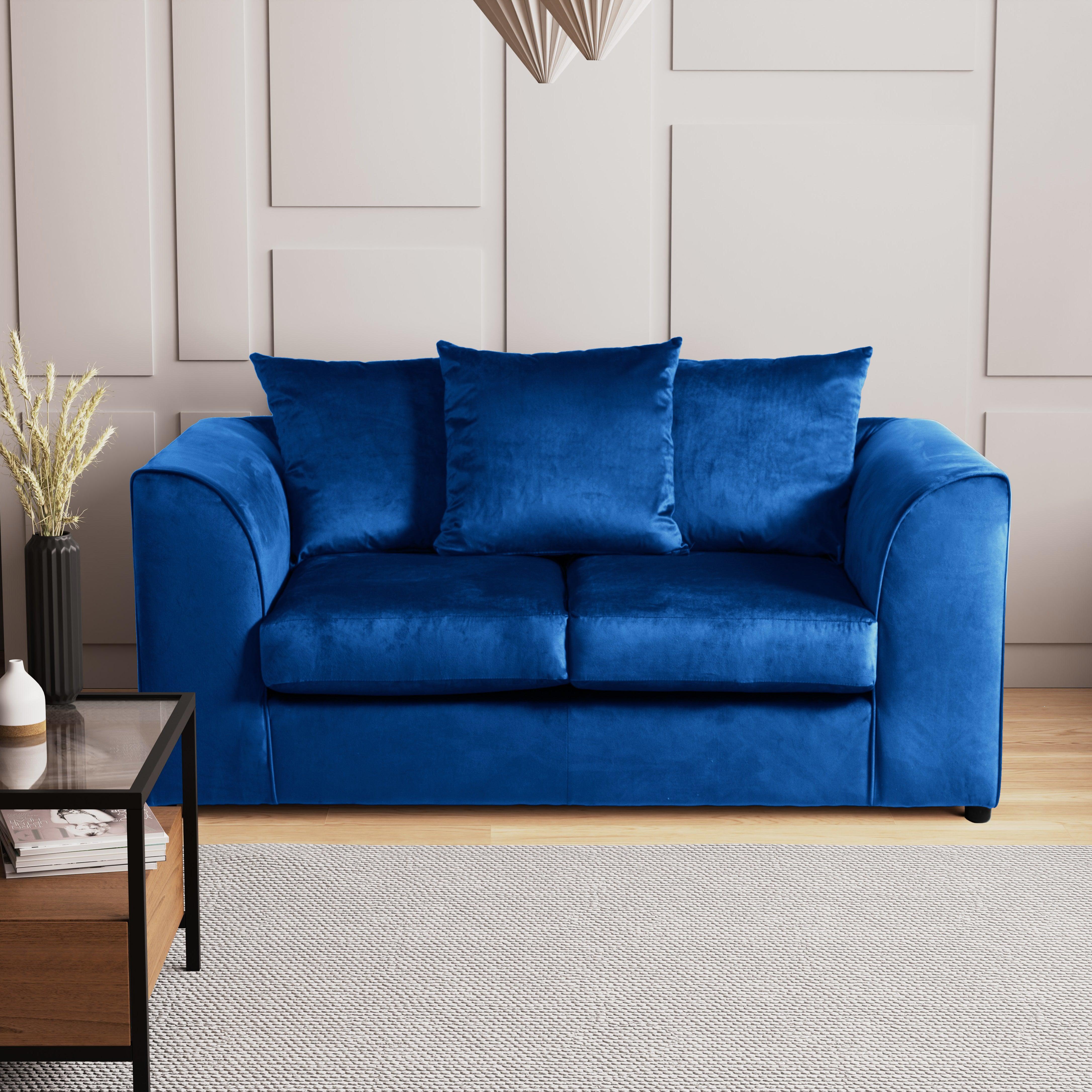 Blake 2 Seater Velvet Sofa Blue