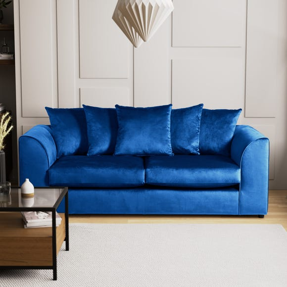 Blake 3 Seater Grey Velvet Sofa Royal Blue