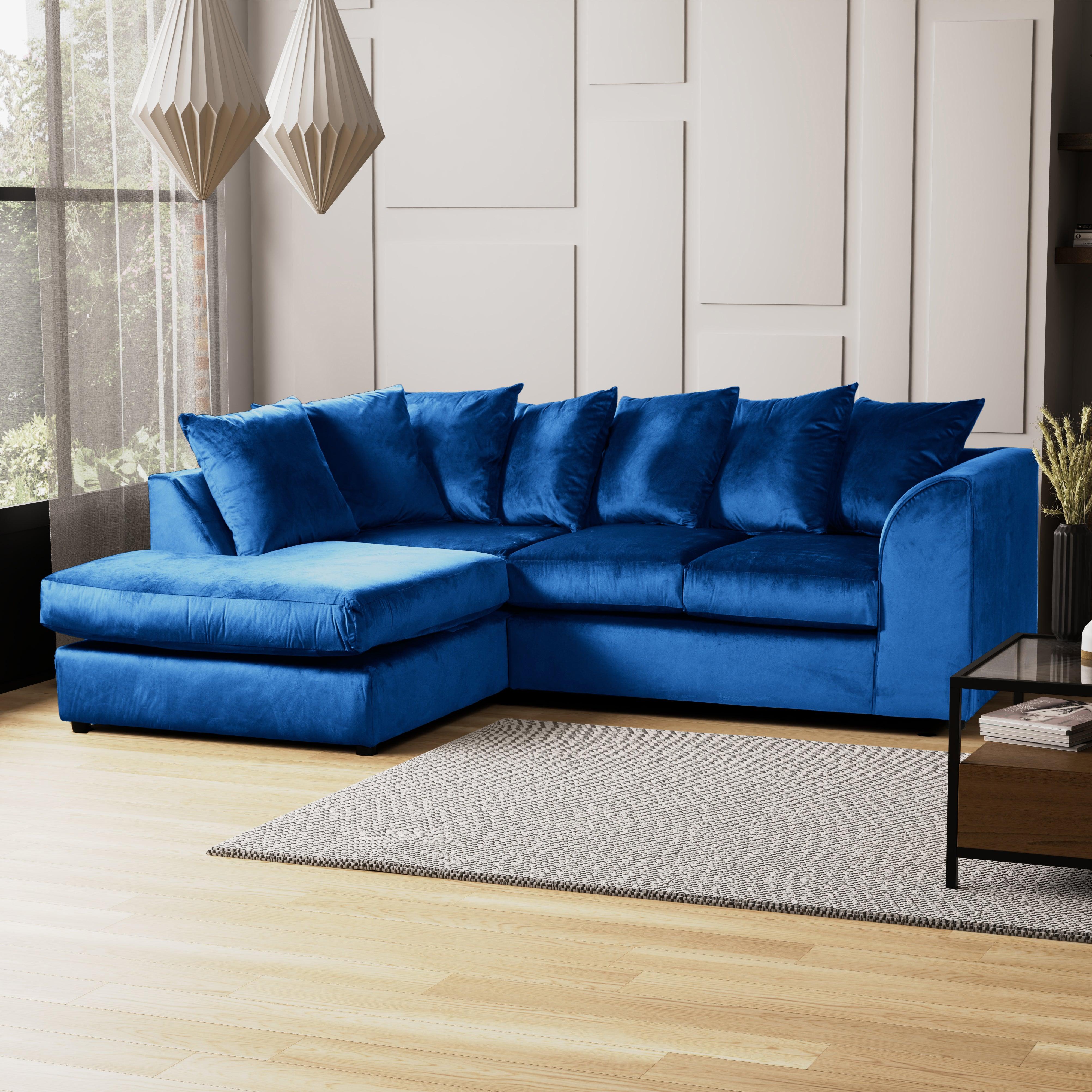 Blake Left Hand Velvet Corner Sofa Blue