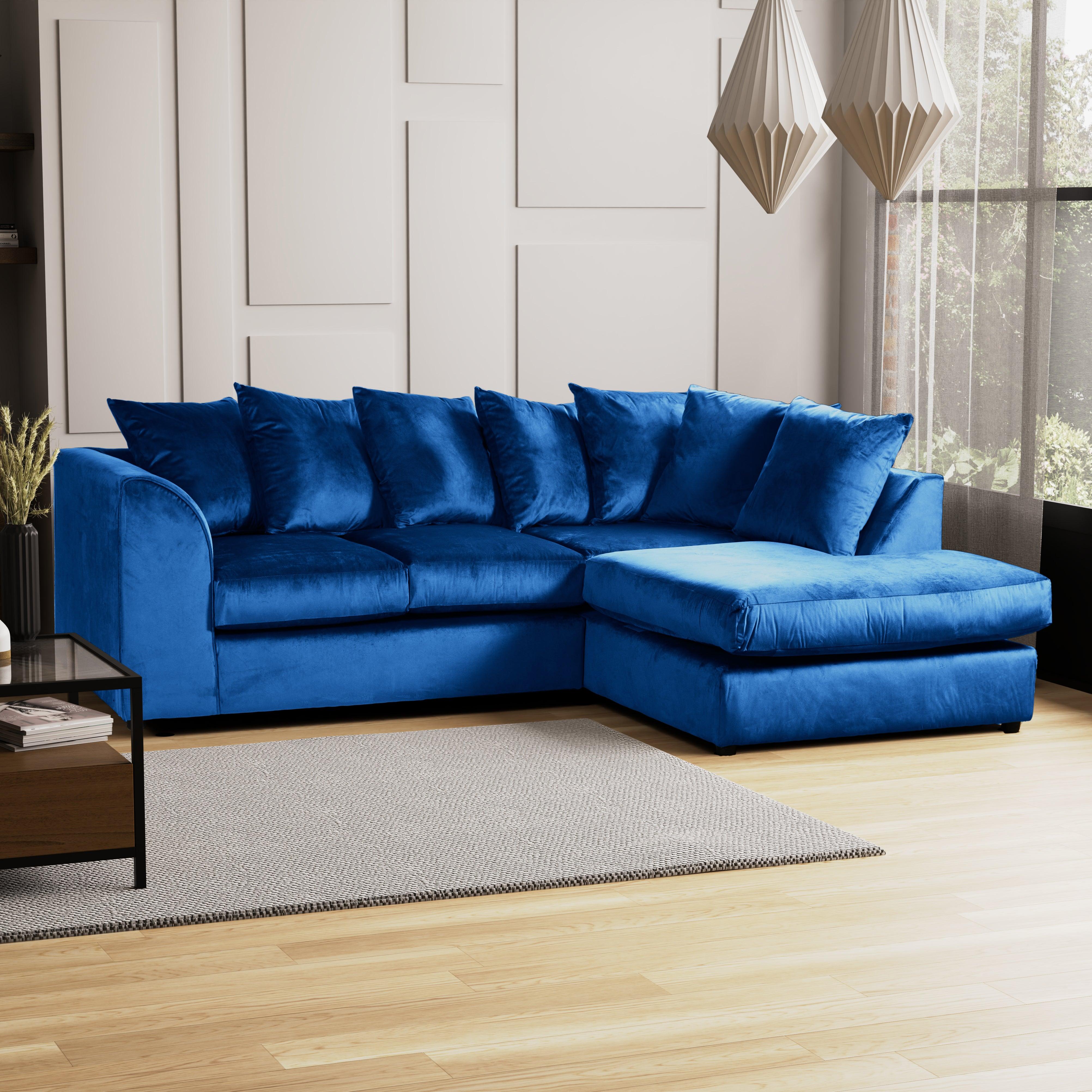 Blake Right Hand Velvet Corner Sofa Blue