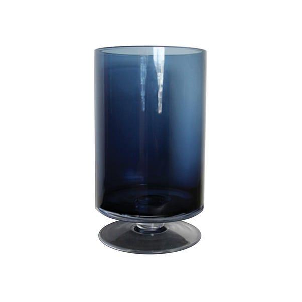 Smoked Hurricane Blue Vase 35cm Navy