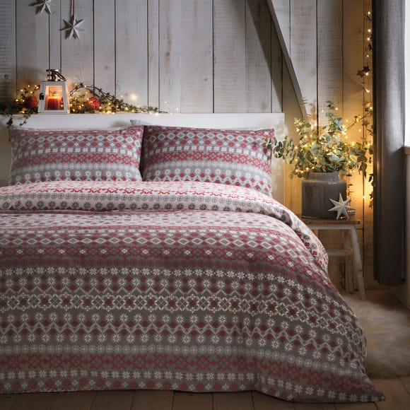 Fusion Fairisle Red Reversible 100% Brushed Cotton Duvet Cover and Pillowcase Set  undefined