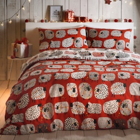 Fusion Dotty Sheep Red Reversible Duvet Cover and Pillowcase Set