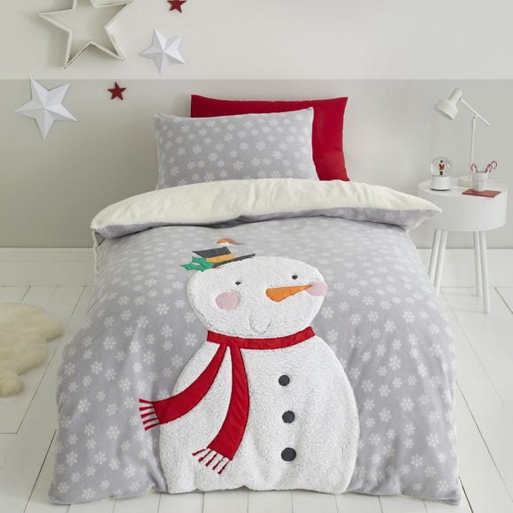 Catherine Lansfield Grey Cosy Snowman Duvet Cover and Pillowcase Set  undefined