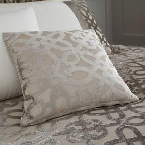Catherine Lansfield Natural Lattice Cut Velvet Cushion