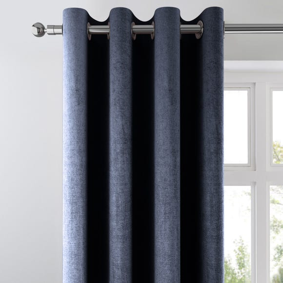 Amalfi Chenille Ink Blue Eyelet Curtains  undefined