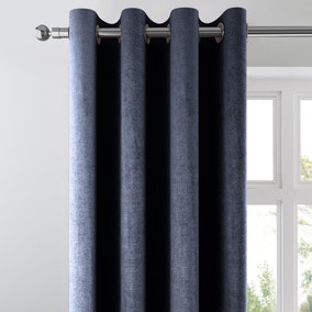 Amalfi Chenille Ink Blue Eyelet Curtains
