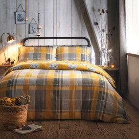 Colville Yellow Checked 100% Brushed Cotton Duvet Cover and Pillowcase Set