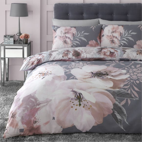 Catherine Lansfield Dramatic Floral Grey Duvet Cover and Pillowcase Set  undefined