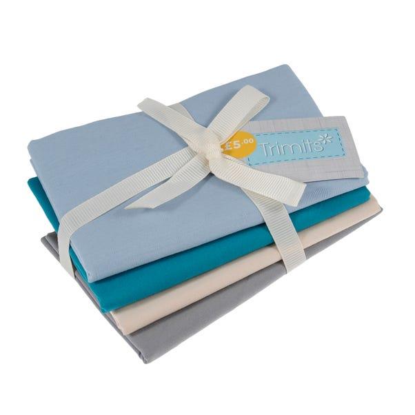 Pack of 4 Feeling Blue Fat Quarters Blue