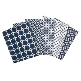 Pack of 5 Navy and White Medley Pattern Fat Quarters