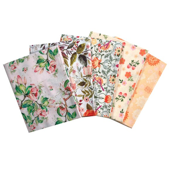 Pack of 5 Beautiful Florals Fat Quarters Pink