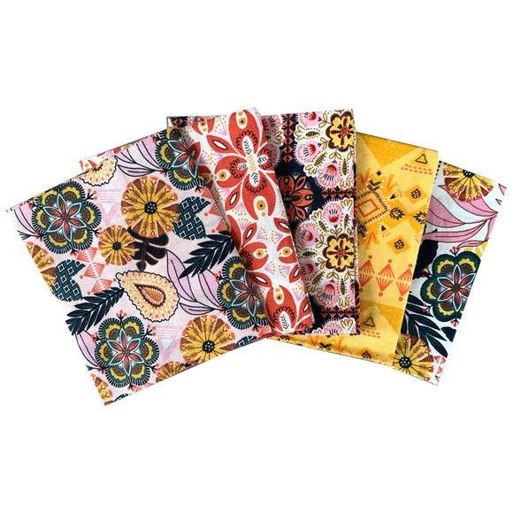 Pack of 5 Tropical Bohemian Fat Quarters MultiColoured
