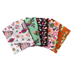 Pack of 5 Little Meadow Birds Fat Quarters