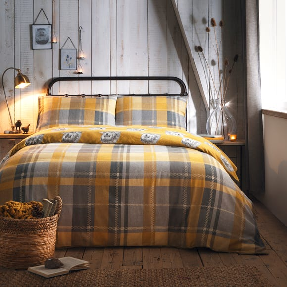 Colville Yellow Checked 100% Brushed Cotton Duvet Cover and Pillowcase Set  undefined
