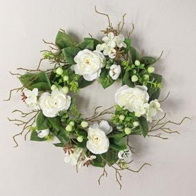Artificial White Rose Wreath