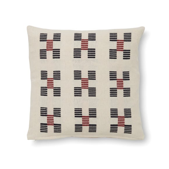 Printed Woven Cotton Cushion MultiColoured undefined