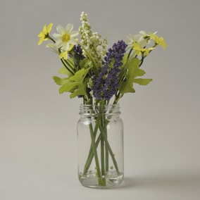 Yellow Floral Display in Glass