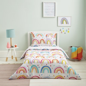 Elements Rainbow Reversible 100% Cotton Cot Bed Duvet Cover and Pillowcase Set