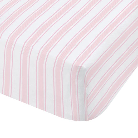 Bianca Check Stripe 100% Cotton Fitted Sheet Light Pink undefined
