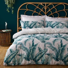 Banana Leaf Pink and Green Reversible Duvet Cover and Pillowcase Set